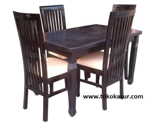 meja makan super 4 kursi balelo kayu warna salak